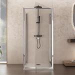 Box doccia tre lati Ajal anta battente cristallo 6mm trasparente altezza 195cm