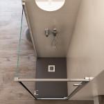 Box doccia a due lati Ajal altezza 195 cm anta battente reversibile cristallo trasparente 6mm anticalcare