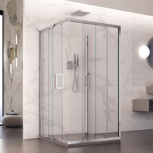 Box doccia tre lati Braies con doppia porta scorrevole reversibile cristallo trasparente 6mm anticalcare 195cm