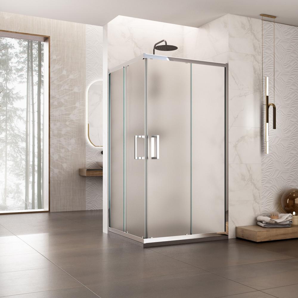 Box doccia angolare due lati Braies con doppia porta scorrevole reversibile cristallo opaco 6mm anticalcare 195cm