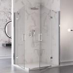 Box doccia angolare Carezza altezza 195 doppia anta battente reversibile cristallo trasparente 8mm anticalcare