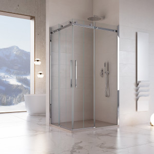 Box doccia angolare due lati Coldai con doppia porta scorrevole reversibile cristallo trasparente 8mm anticalcare 195cm