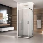 Box doccia angolare due lati Giralba con doppia porta scorrevole reversibile cristallo trasparente 6mm anticalcare 195cm