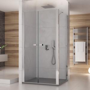 Box doccia angolare due lati Mis con doppia porta battente saloon reversibile cristallo trasparente 6mm anticalcare 195cm