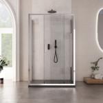 Box doccia a tre lati Misurina altezza 195cm anta scorrevole reversibile cristallo trasparente 6mm
