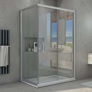 Box doccia due lati Piave-11 con doppia porta scorrevole reversibile cristallo trasparente 6mm anticalcare 195cm