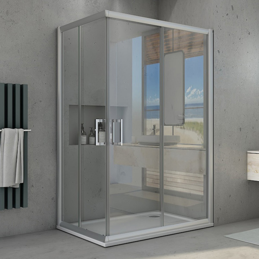 Box doccia due lati Piave-12 con doppia porta scorrevole reversibile cristallo trasparente 6mm anticalcare 190cm