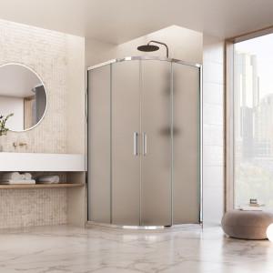 Box doccia semicircolare Vajont con doppia porta scorrevole reversibile cristallo opaco 6mm anticalcare 195cm