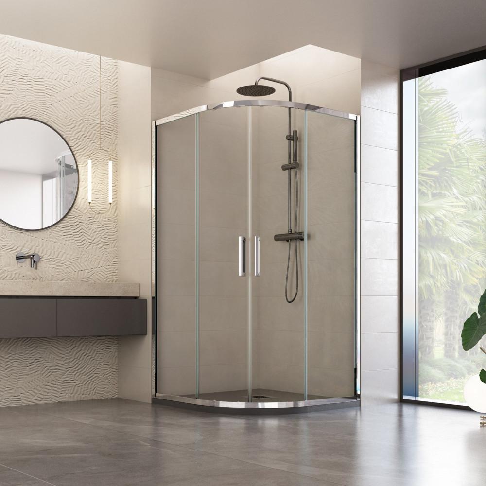 Box doccia semicircolare Vajont con doppia porta scorrevole reversibile cristallo trasparente 6mm anticalcare 195cm
