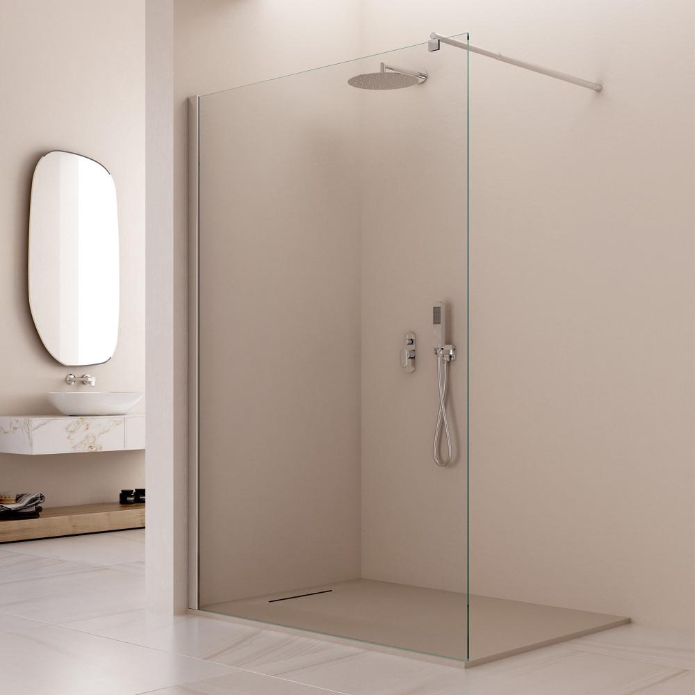 Parete doccia Walk-in Limìdes cristallo trasparente 8mm