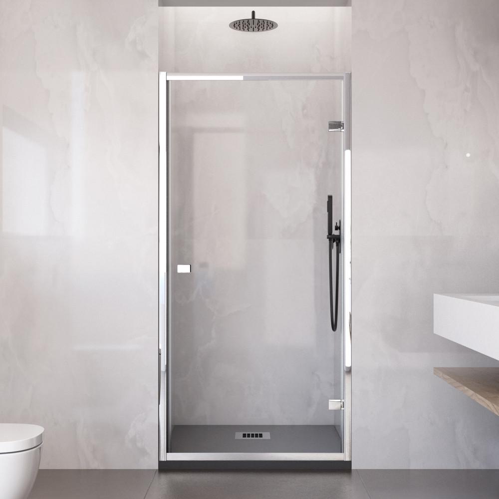 Porta doccia Ajal altezza 195 cm anta unica battente reversibile cristallo trasparente 6mm anticalcare