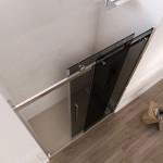 Porta doccia Alleghe fumè con anta scorrevole altezza 195 cm reversibile cristallo trasparente 8mm anticalcare