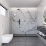 Porta doccia per nicchia Antermoia con anta battente reversibile cristallo trasparente 8mm anticalcare 195cm