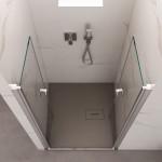 Porta doccia per nicchia Mis-One con ante a saloon reversibile cristallo trasparente 6mm anticalcare 195cm