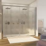 Porta doccia Piave-4 con doppia porta scorrevole cristallo trasparente 6mm anticalcare 195cm
