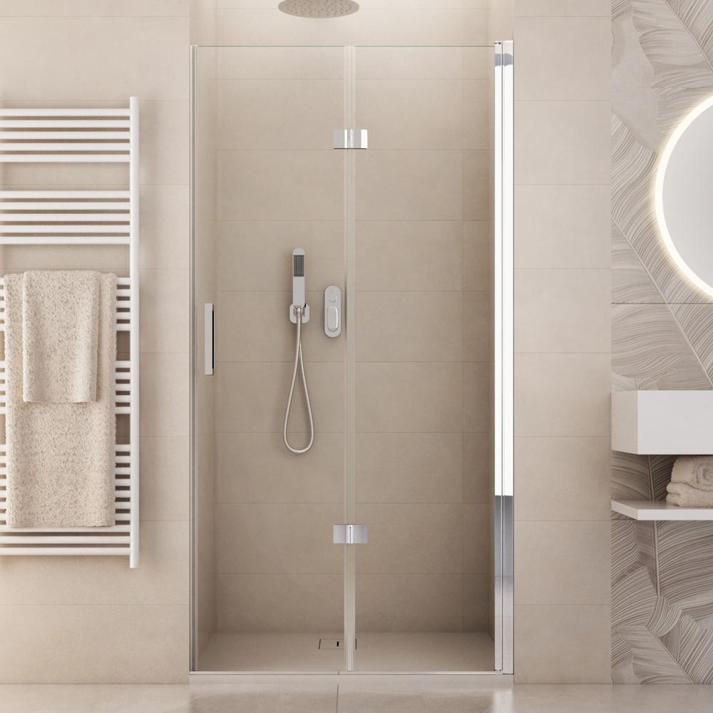 Porta doccia nicchia Sorapiss alta 190 cm anta a soffietto reversibile in cristallo trasparente 6mm anticalcare