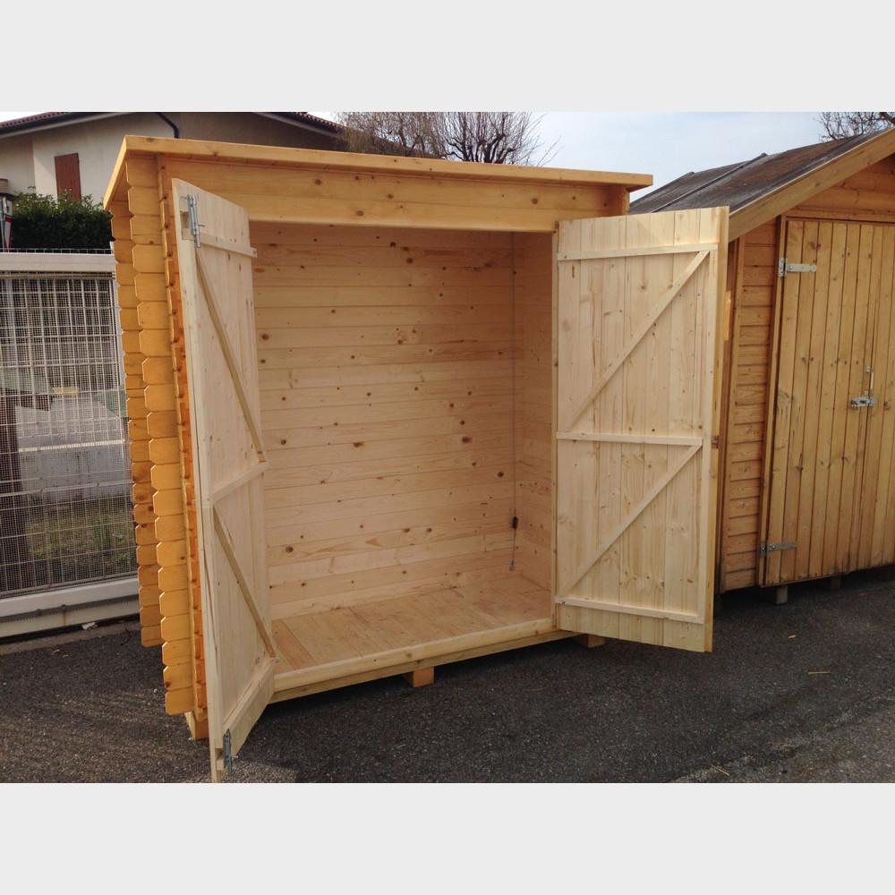 Armadio legnaia da giardino in legno grezzo kerti 198x88 for Armadio legno giardino