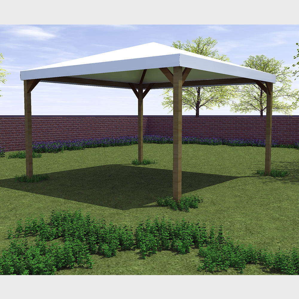 "Gazebo da giardino 300X300 con struttura in legno telo bianco ""Ischia"""