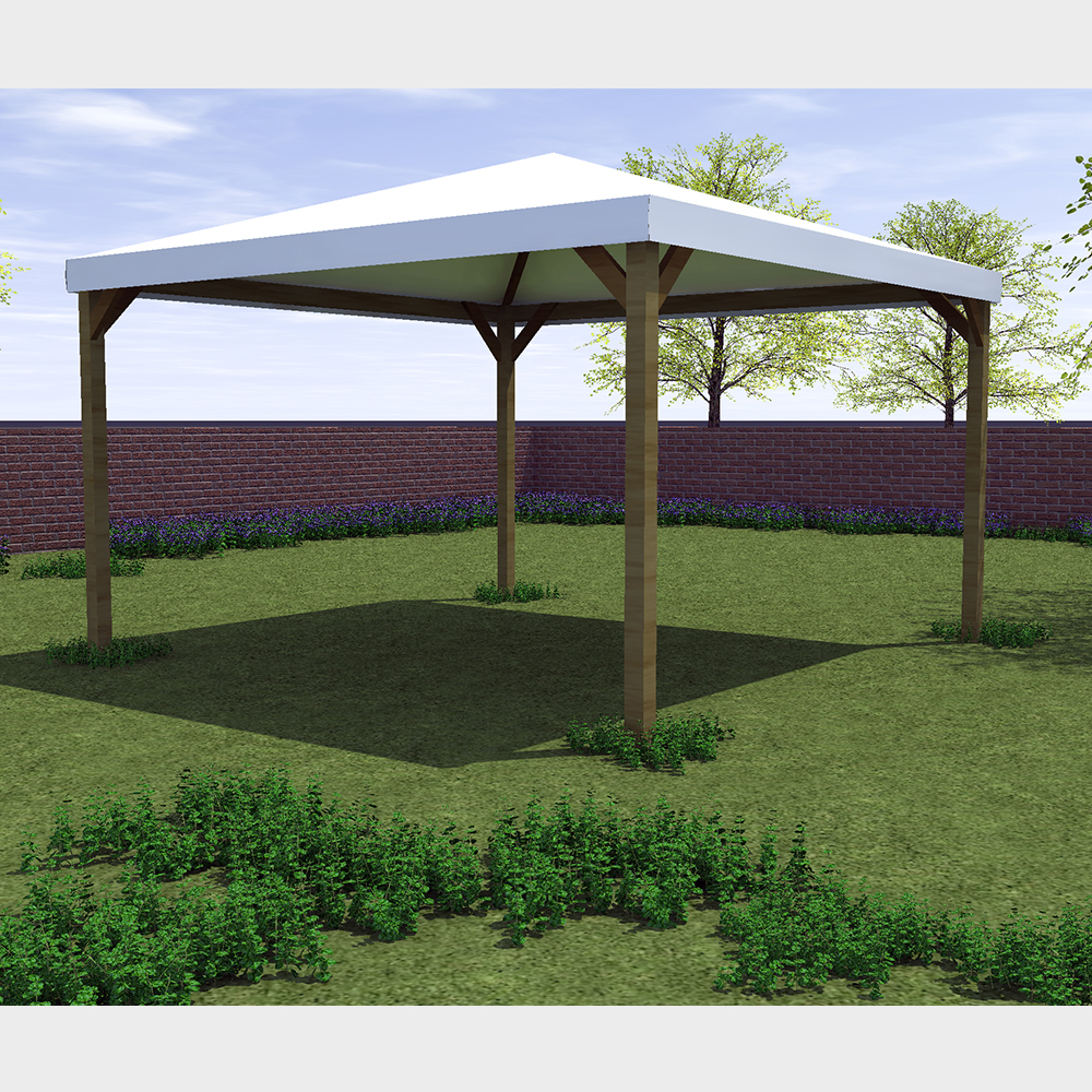 "Gazebo da giardino 360X300 con struttura in legno telo bianco ""Ischia"""