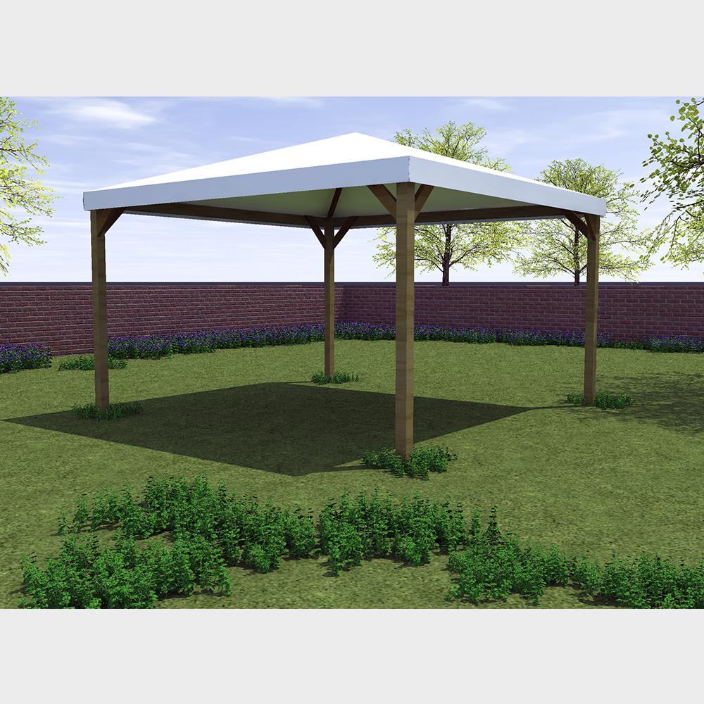 Gazebo da giardino 360X360 con struttura in legno telo bianco