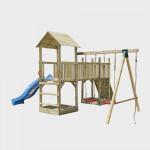 Gioco da giardino in legno con torre doppia, scivolo, altalene