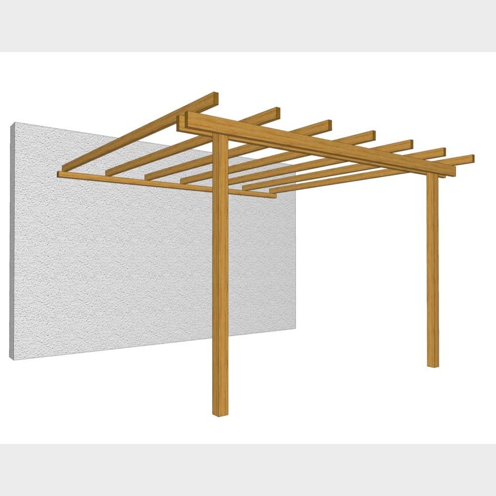 Pergola addossata in legno di pino massello impregnato in autoclave 300X300