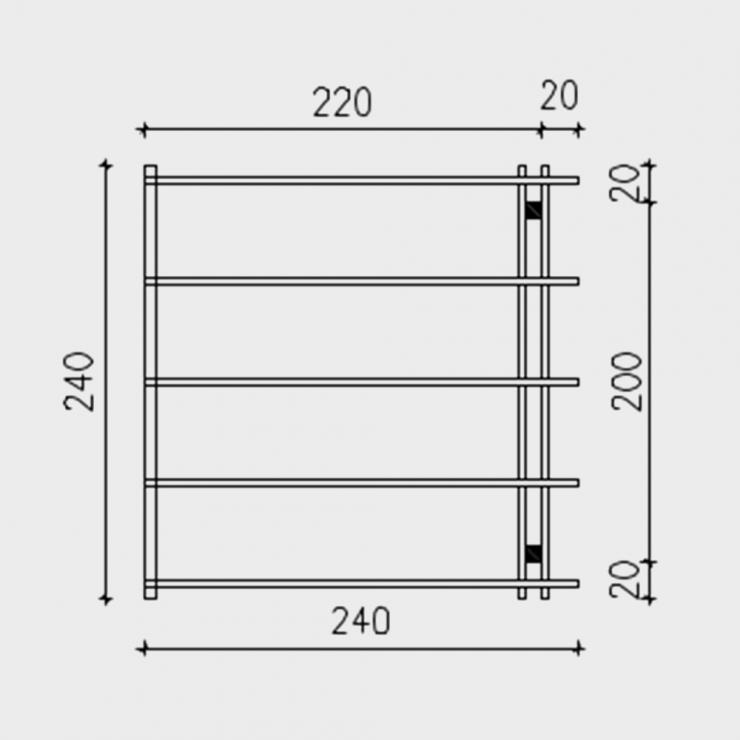 Pergola addossata in legno di pino massello 240X240