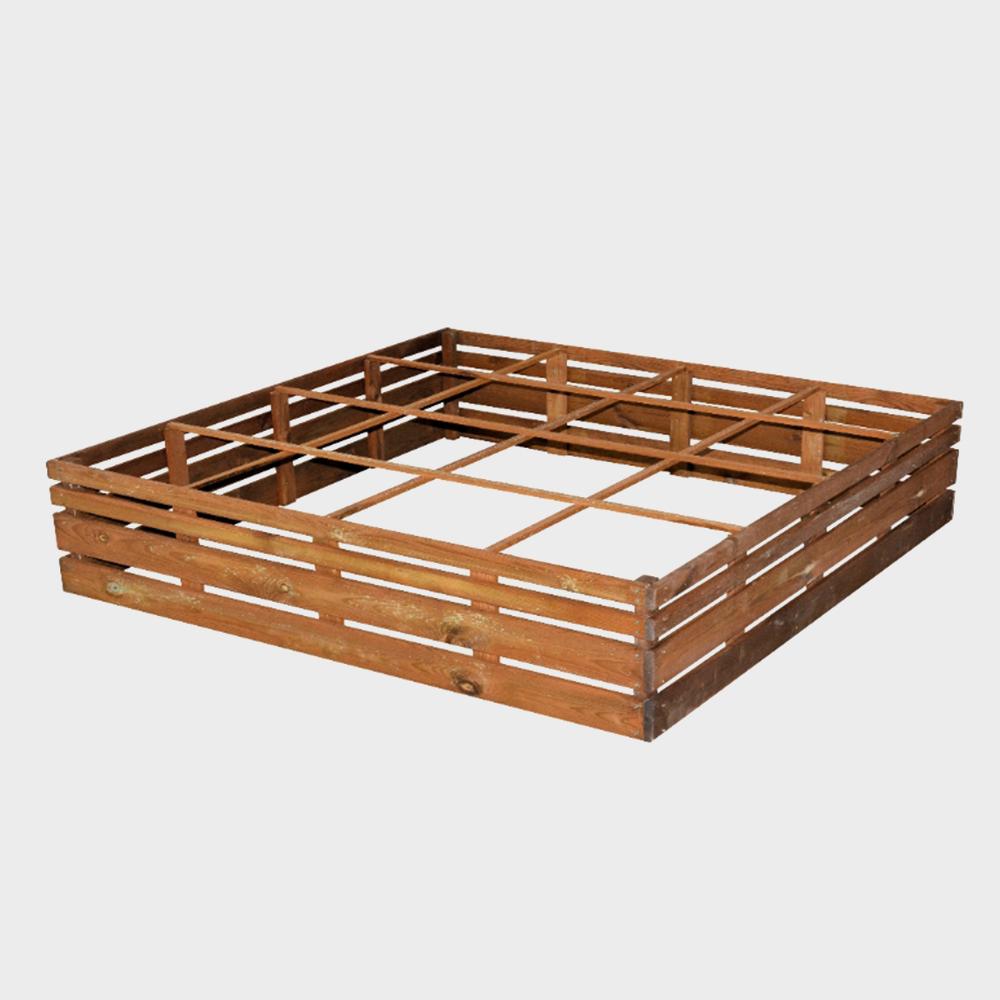 Fioriera cassone orto a scomparti in legno quadrato 120x120x28h