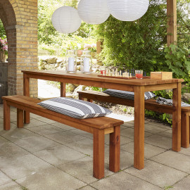 Tavolo da giardino con panchine in legno 200x78x74h Set Cesis