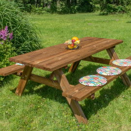 Tavolo in legno da giardino con panche picnic Oasi 177x154x74h cm