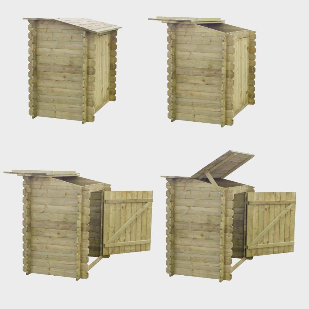Armadio da giardino in legno per accessori piscina cm 120x89x113
