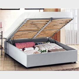 """Letto matrimoniale """"Tondino"""" con testiera in ferro battuto e box contenitore - 170x202x135h"""