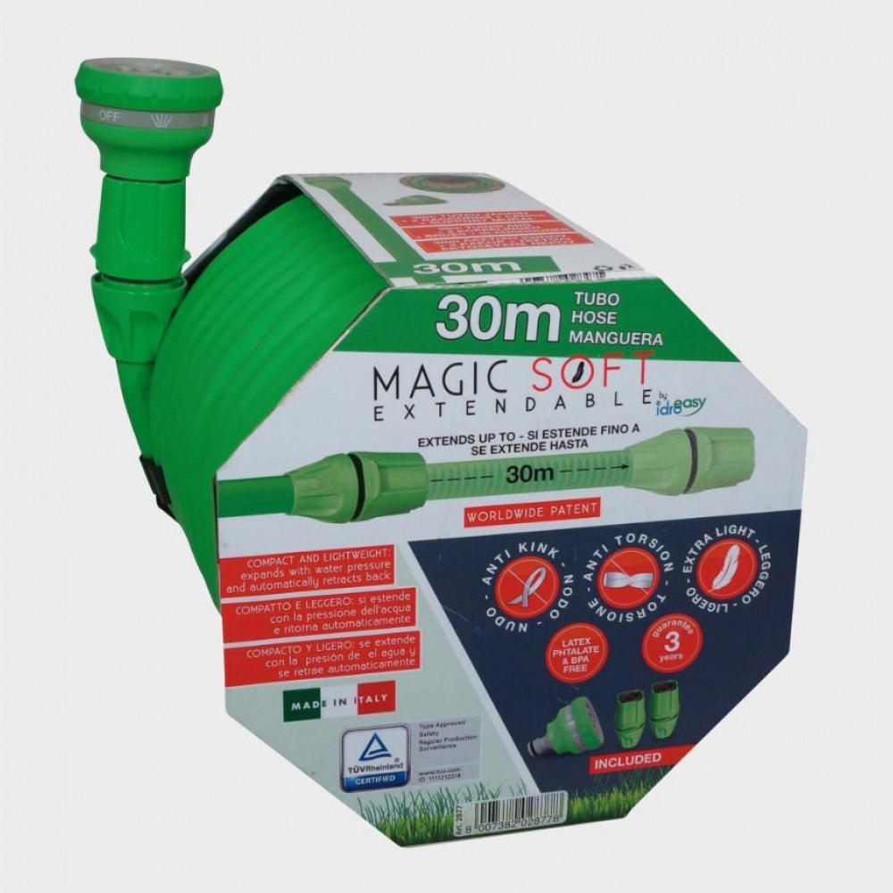 Tubo da giardino allungabile 30 metri anti-piega e anti-torsione Magic Soft