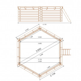 Piscina esagonale in legno fuori terra diam. 360cm.