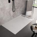 Piatto Doccia Mineral Marmo Griglia Laterale Bianco | Relax