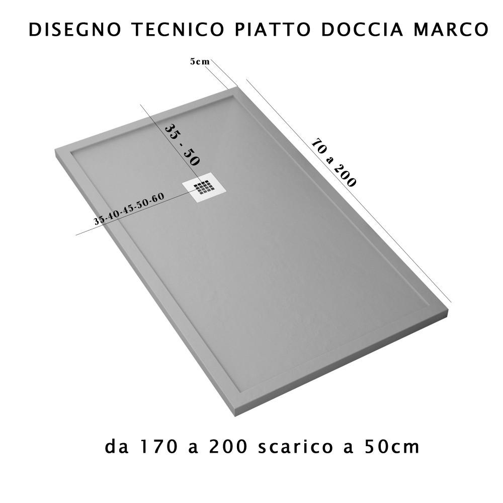 Piatto Doccia Grigio Chiaro Con Bordo Mineral Marmo | Marco