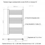 Radiatore Termoarredo scaldasalviette 80x55 Cromato interasse 50 cm