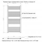 Radiatore Termoarredo scaldasalviette 120x50 Cromato interasse 45 cm