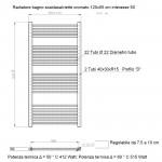 Radiatore Termoarredo scaldasalviette 120x55 Cromato interasse 50 cm
