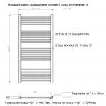 Radiatore Termoarredo scaldasalviette 120x60 Cromato interasse 55 cm