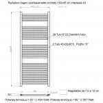 Radiatore Termoarredo scaldasalviette 150x45 cromato interasse 40 cm