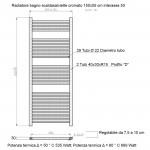 Radiatore Termoarredo scaldasalviette 150x55 cromato interasse 50 cm