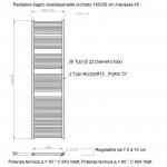 Radiatore Termoarredo scaldasalviette 180x55 cromato interasse 50 cm