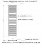 Radiatore Termoarredo scaldasalviette 180x60 cromato interasse 55 cm