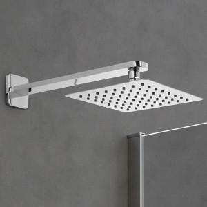 Soffione doccia quadrato in acciaio 25x25