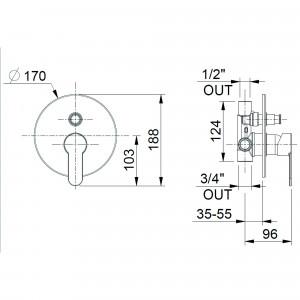 Miscelatore doccia incasso con deviatore automatico cromato | Funky