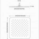 Soffione doccia quadrato in acciaio 20x20