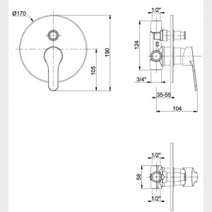 Miscelatore doccia incasso con deviatore automatico cromato | Flash