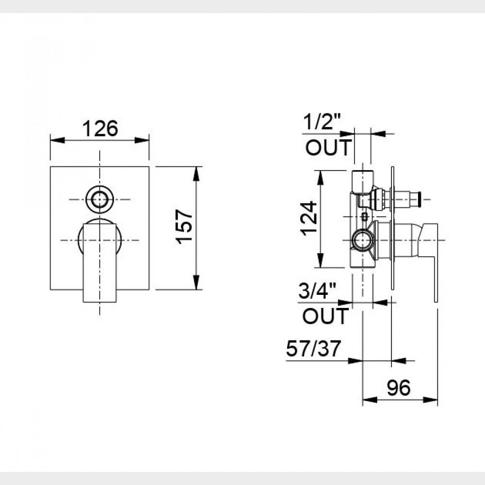 Monocomando doccia incasso cromato con deviatore e piastra minimalista | Manhattan