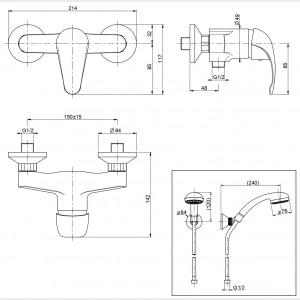 Gruppo doccia esterno con duplex cromato | Squalo